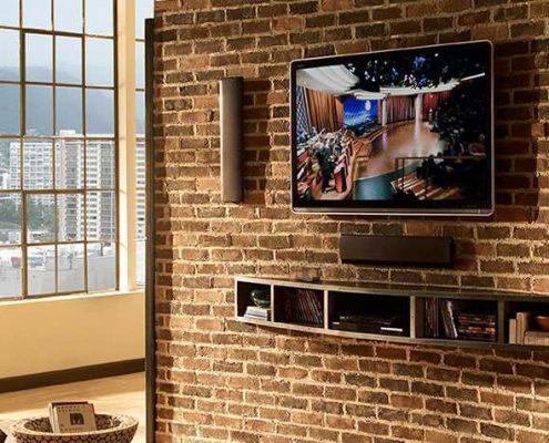 طراحی پشت تلویزیون با آجر نسوز